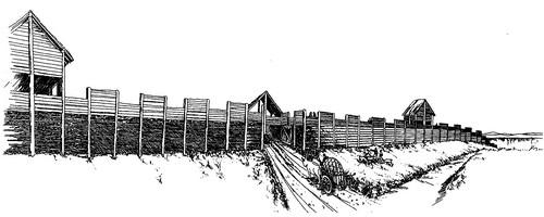 L'entrée principale comportait deux voies séparées d'une berme